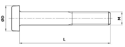 Dimensional diagram of a type A structural bolt.