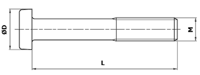 Dimensional diagram of a type B structural bolt.