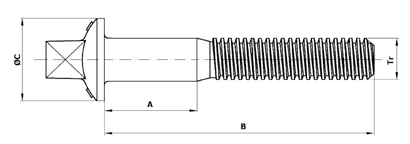 Dimensional diagram of Sleeper bolts with trapezoidal thread