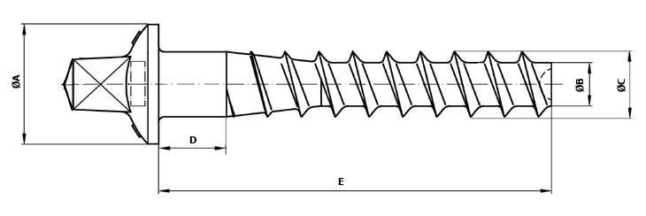 Dimensional diagram of Self-tapping sleeper screws
