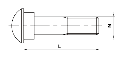 Dimensional diagram of a fish bolt, DIN 5903 type A