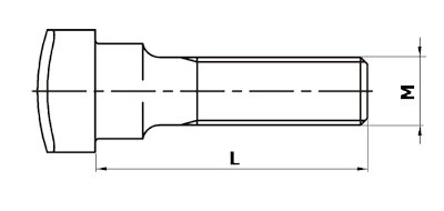 Dimensional diagram of a fish bolt, DIN 5903 type B
