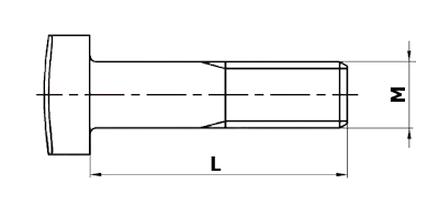 Dimensional diagram of a fish bolt, DIN 5903 type C