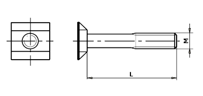 Dimensional diagram of a fish bolt, PN 02 1362