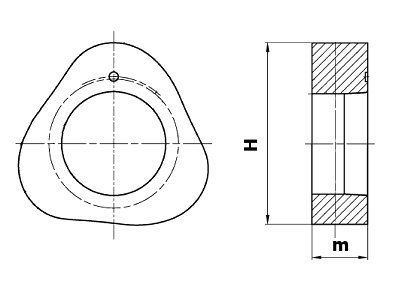 Dimensional diagram of a triangular pump cam forging